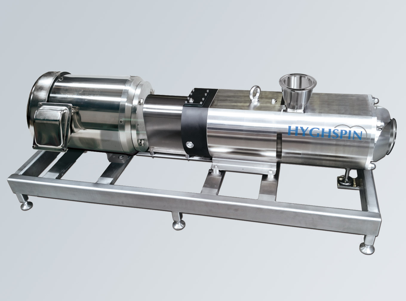HYGHSPIN Extended on a stainless steel frame with hygienic stainless steel motor